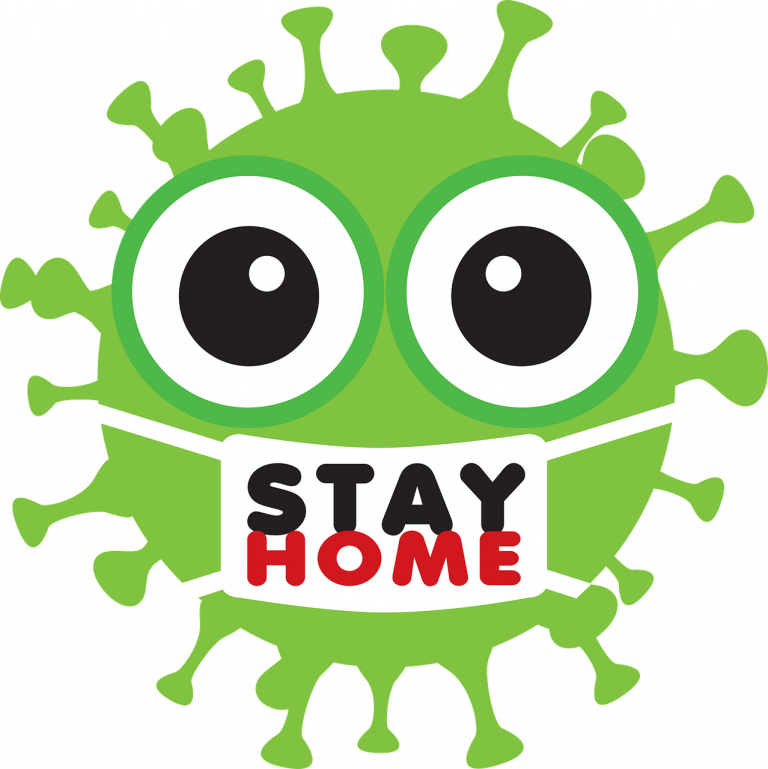 covid-19 virus stay at home cartoon