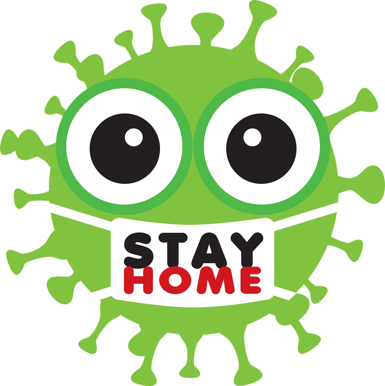 covid-19 virus stay at home cartoon